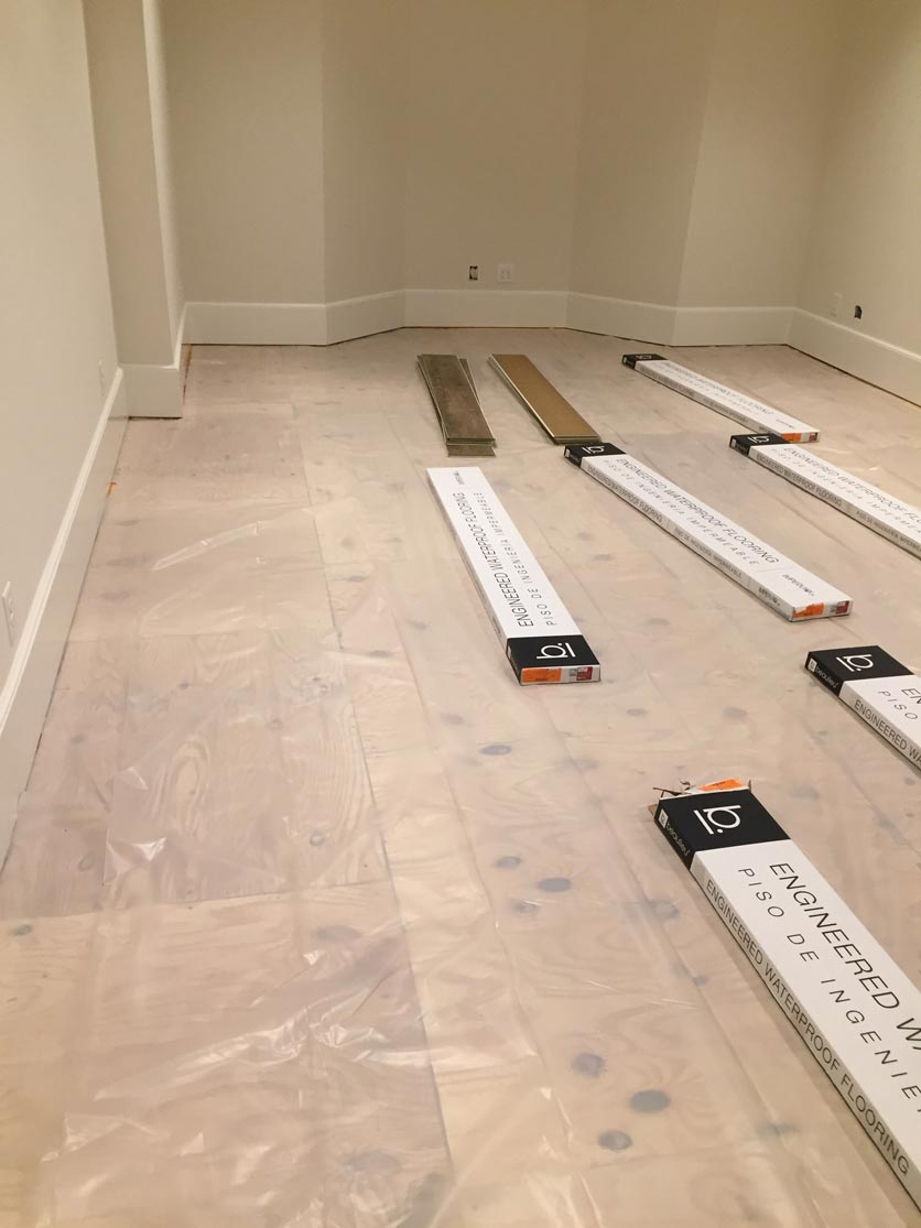 Prep work for the new flooring in the basement