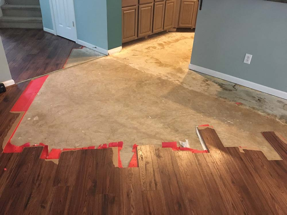 Prepping the area and existing flooring